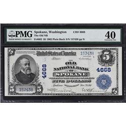 Spokane, Washington. 1902 $5 Plain Back. Fr. 602. Old NB. Charter 4668. PMG Extremely Fine 40.