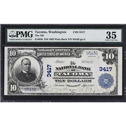 Tacoma, Washington. 1902 $10 Plain Back. Fr. 630. NB. Charter 3417. PMG Choice Very Fine 35.