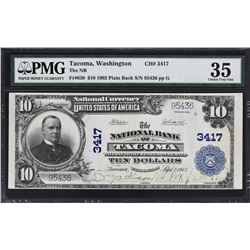 Tacoma, Washington. 1902 $10 Plain Back. Fr. 630. NB. Charter 3417. PMG Choice Very Fine 35.