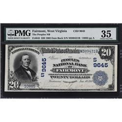 Fairmont, West Virginia. 1902 $20 Date Back. Fr. 645. Peoples NB. Charter 9645. PMG Choice Very Fine