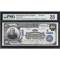 Martinsburg, West Virginia. 1902 $10 Plain Back. Fr. 624. Old NB. Charter 6283. PMG Very Fine 25.