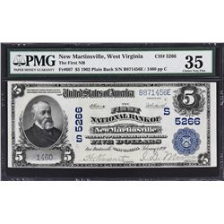 New Martinsville, West Virginia. 1902 $5 Plain Back. Fr. 607. FNB. Charter 5266. PMG Choice Very Fin