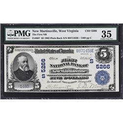 New Martinsville, West Virginia. 1902 $5 Plain Back. Fr. 607. FNB. Charter 5266. PMG Choice Very Fin