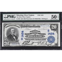 Wheeling, West Virginia. 1902 $20 Plain Back. Fr. 650. NB of West Virginia. Charter 1424. PMG About