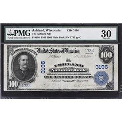 Ashland, Wisconsin. 1902 $100 Plain Back. Fr. 698. Ashland NB. Charter 3196. PMG Very Fine 30.