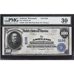 Ashland, Wisconsin. 1902 $100 Plain Back. Fr. 698. Ashland NB. Charter 3196. PMG Very Fine 30.