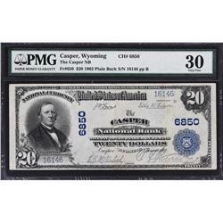 Casper, Wyoming. 1902 $20 Plain Back. Fr. 650. Casper NB. Charter 6850. PMG Very Fine 30.