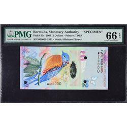 Bermuda Monetary Authority. 1.1.2009, 2 to 100 Dollars. P-57s to 62s. PMG Graded. Specimens.