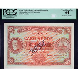 Banco Nacional Ultramarino. 1.1.1921, 50 Escudos. P-37s. PCGS Currency Very Choice New 64. Specimen.