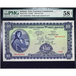 Currency Commission of Ireland. 7.9.1942, 10 Pounds. P-4Cb. PMG Choice About Uncirculated 58 EPQ.