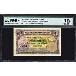 Palestine Currency Board. 15.8.1945, 500 Mils. P-6d. PMG Very Fine 20.