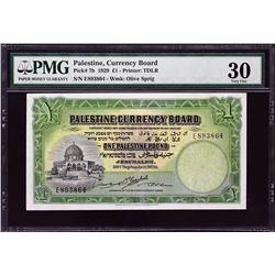 Palestine Currency Board. 30.9.1929, 1 Pound. P-7b. PMG Very Fine 30.