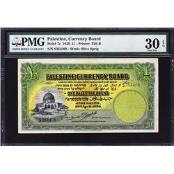 Palestine Currency Board. 20.4.1939, 1 Pound. P-7c. PMG Very Fine 30 EPQ.