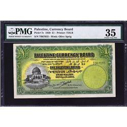 Palestine Currency Board. 20.4.1939, 1 Pound. P-7c. PMG Choice Very Fine 35.