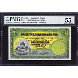 Palestine Currency Board. 1.1.1944, 1 Pound. P-7d. About Uncirculated 55.