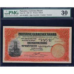 Palestine Currency Board. 30.9.1929, 5 Pounds. P-8b. PMG Very Fine 30.