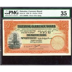 Palestine Currency Board. 20.4.1939, 5 Pounds. P-8c. PMG Choice Very Fine 35.