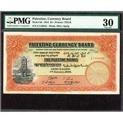 Palestine Currency Board. 1.1.1944, 5 Pounds. P-8d. PMG Very Fine 30.