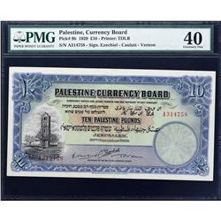Palestine Currency Board. 30.9.1929, 10 Pounds. P-9b. PMG Extremely Fine 40.