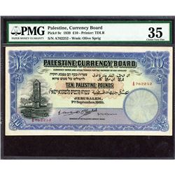 Palestine Currency Board. 7.9.1939, 10 Pounds. P-9c. PMG Choice Very Fine 35.