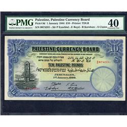 Palestine Currency Board. 1.1.1944, 10 Pounds. P-9d. PMG Extremely Fine 40.