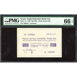 Anglo-Palestine Bank Limited. 16.5.1948, 500 Mils. P-1a. PMG Gem Uncirculated 66 EPQ.