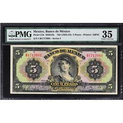 Banco de Mexico. ND (1925-34), 5, 10 & 20 Pesos. P-21h to 23h. PMG Graded.