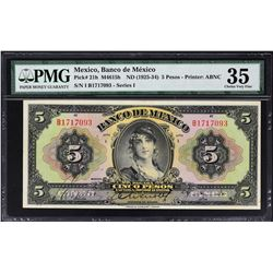 Banco de Mexico. ND (1925-34), 5, 10 & 20 Pesos. P-21h to 23h. PMG Graded.