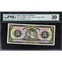 Banco de Mexico. 1936-70, 5 Pesos. P-Various. Very Fine to Gem Uncirculated.