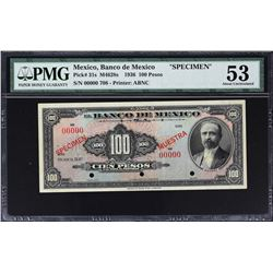 Banco de Mexico. ND (1936), 100 Pesos. P-31s. PMG About Uncirculated 53. Specimen.