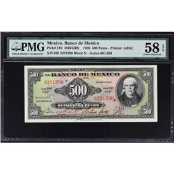 Banco de Mexico. 1958 to 1974, 500 & 1,000 Pesos. PMG Graded.