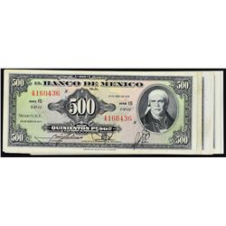Banco de Mexico. 1959 to 1978, 500 Pesos. Very Fine to Gem Uncirculated.