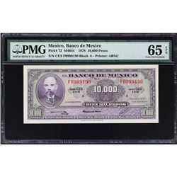 Banco de Mexico. 18.1.1978, 10,000 Pesos. P-72. PMG Graded.