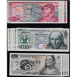 Banco de Mexico. 1969-1989, 5 to 2,000 Pesos. P-Various. Very Fine to Gem Uncirculated.
