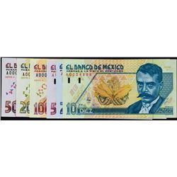 Banco de Mexico. 10.12.1992, 10 to 500 Pesos. P-99 to 104. Gem Uncirculated.