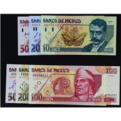 Banco de Mexico. 6.5.1994, 10 to 500 Pesos. P-105 to 110. Gem Uncirculated.