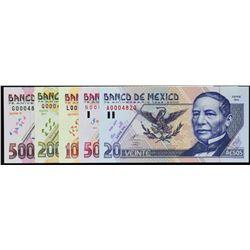 Banco de Mexico. 25.8.2000, 20 to 500 Pesos. P-111 to 115. Gem Uncirculated.
