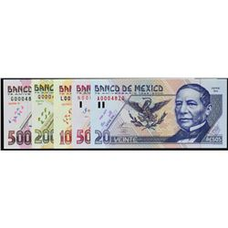 Banco de Mexico. 25.8.2000, 20 to 500 Pesos. P-111 to 115. Gem Uncirculated.