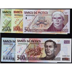 Banco de Mexico. 18.8.2000, 50 to 1,000 Pesos. P-117 to 121. Gem Uncirculated.
