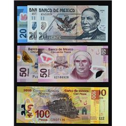 Banco de Mexico. 2005 to 2015, Mixed Denominations. P-122 to 130. About Uncirculated to Gem Uncircul