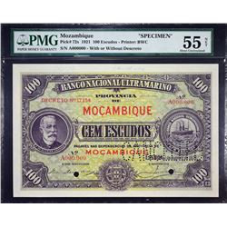 Banco Nacional Ultramarino. 1.1.1921, 100 Escudos. P-72s. PMG About Uncirculated 55 Net. Previously