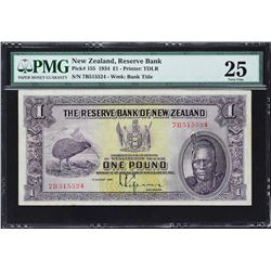 Reserve Bank of New Zealand. 1.8.1934, 1 Pound. P-155. PMG Very Fine 25.
