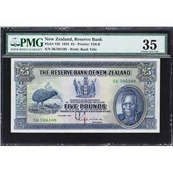 Reserve Bank of New Zealand. 1.8.1934, 5 Pounds. P-156. PMG Choice Very Fine 35.