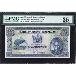 Reserve Bank of New Zealand. 1.8.1934, 5 Pounds. P-156. PMG Choice Very Fine 35.