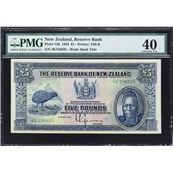 Reserve Bank of New Zealand. 1.8.1934, 5 Pounds. P-156. PMG Extremely Fine 40.