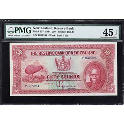 Reserve Bank of New Zealand. 1.8.1934, 50 Pounds. P-157. PMG Choice Extremely Fine 45 EPQ.