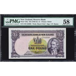Reserve Bank of New Zealand. ND (1940-67), 1 Pound. P-159a to 159d. PMG Graded.
