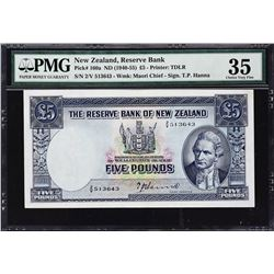 Reserve Bank of New Zealand. ND (1940-55), 5 Pounds. P-160a. PMG Choice Very Fine 35.