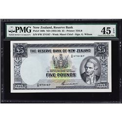 Reserve Bank of New Zealand. ND (1955-56), 5 Pounds. P-160b. PMG Choice Extremely Fine 45 EPQ.