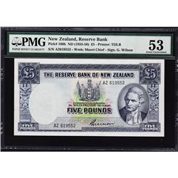 Reserve Bank of New Zealand. ND (1955-56), 5 Pounds. P-160b. PMG About Uncirculated 53.